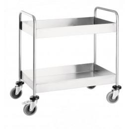 Тележка для сбора посуды, 2 уровня полок, корпус из нержавеющей стали