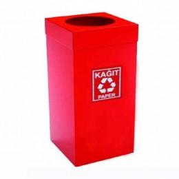 Урна  для сортировки мусора из нержавеющей стали , красная порошковая окраска, обьем 54 л.