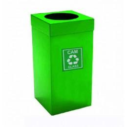Урна  для сортировки мусора из нержавеющей стали , зеленая порошковая окраска, обьем 54 л.