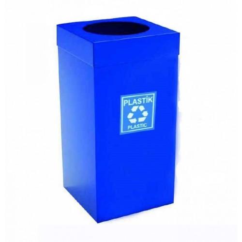 Урна  для сортировки мусора из нержавеющей стали , синяя порошковая окраска, обьем 54 л.