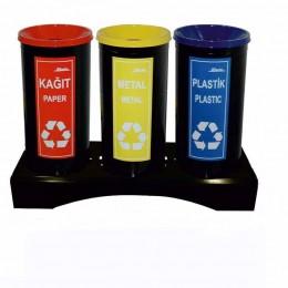 Комплект из 3 мусорных баков для раздельного сбора отходов, порошковая окраска, объем бака 34 л.