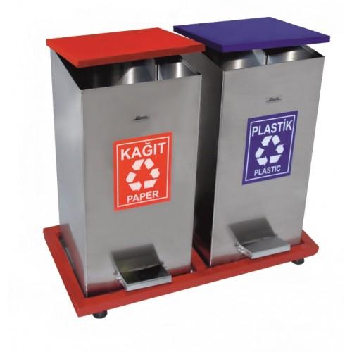 Урна с педалью из нержавеющей стали, двухведерная для раздельного сбора мусора, на металлической платформе, обьем ведра 108 л.