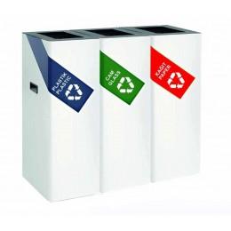 Урна для раздельного сбора мусора с 3 ведрами по 54 л. с ручками, порошковая окраска