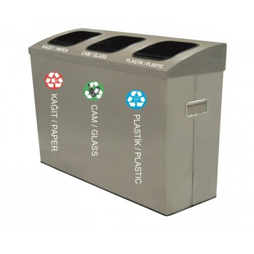 Мусорная урна для раздельного сбора отходов, 3 ведра, обьем 235 л,