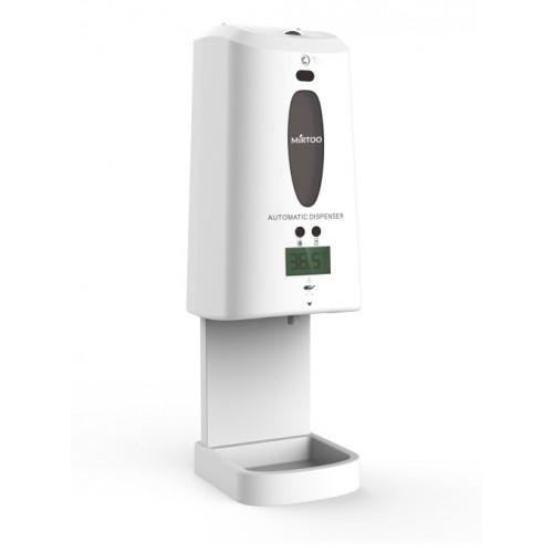 Сенсорный дозатор для антисептика с встроенным бесконтактным термометром MIRTOO 001TM с поддоном емкость 1300 мл.