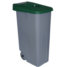 Контейнер для раздельного сбора мусора серый на колесах с зеленой крышкой с ручкой