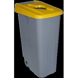 Бак для раздельного сбора мусора серый на колесах с желтой крышкой с ручкой  Denox-Reciclo- 85L-110L - yellow
