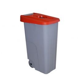 Бак для раздельного сбора мусора серый на колесах с красной крышкой с ручкой
