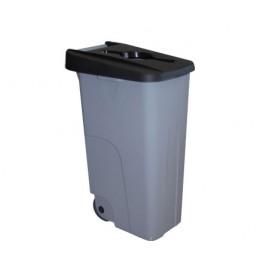 Бак для раздельного сбора мусора серый на колесах с черной крышкой с ручкой Denox-Reciclo- 85L-110L - black.