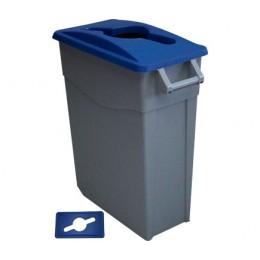 Контейнер для раздельного сбора отходов серый на колесах с синей крышкой с ручкой