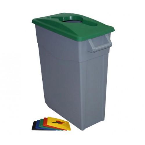 Контейнер для раздельного сбора отходов серый на колесах с зеленой крышкой с ручкой