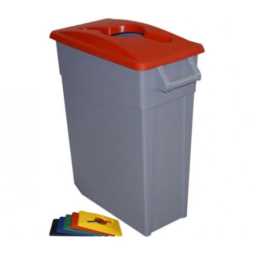 Контейнер для раздельного сбора мусора серый на колесах с красной крышкой с ручкой