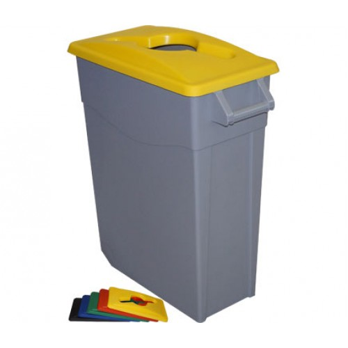 Бак для раздельного сбора мусора серый на колесах с желтой крышкой с ручкой