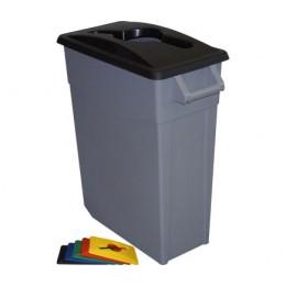Бак для раздельного сбора мусора серый на колесах с черной крышкой с ручкой