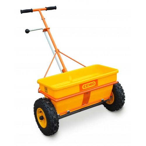 Разбрасыватель сеялка CEMO KS 35-E для удобрений, песка и реагентов на колесах 35 л.