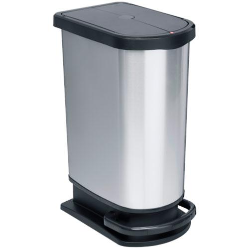 Мусорное ведро Rotho PASO DUO 50 л. разделено на 2 секции для раздельного сбора мусора  с педалью плавное и бесшумное опускание крышки