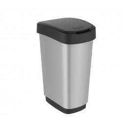 Rotho контейнер для раздельного сбора мусора Swing TWIST 25 л 50 л  с откидной плавающей крышкой цвет серебряный металлик