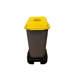 Бак мусорный для раздельного сбора отходов с крышкой и подставкой на колесах