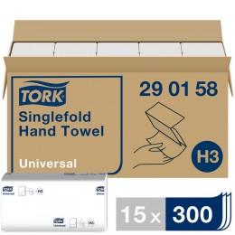 Полотенца бумажные листовые Tork Universal 290158 H3 ZZ-сложения 1-слойные 15 пачек по 300 листов
