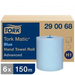 Полотенца бумажные в рулонах Tork Matic 290068 Голубой H1 2-слойные 6 рулонов в упаковке по 150 метров