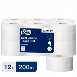 Туалетная бумага рулонная Tork 120197 1-слойная 12 рулонов по 200 м