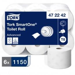 Туалетная бумага рулонная Tork SmartOne 472242 2-слойная 6 рулонов по 207 м