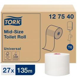 Туалетная бумага рулонная Tork Mid-size 127540 1-слойная 27 рулонов по 135 м