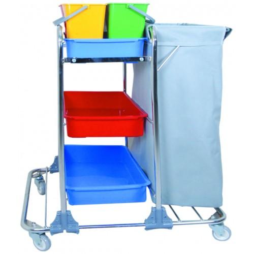 Тележка для горничной многофункциональная мешок для белья или мусора, лоток 3 шт. цветные ведра 4х5л. поворотные колеса 80мм.