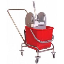 Одноведерная тележка уборочная  с отжимом сьемное ведро 25 л. металлический хромированный каркас поворотные колеса