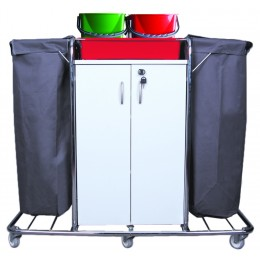 Тележка для горничной многофункциональная 2 мешка для белья или мусора, лоток. цветные ведра 4х5л. шкаф с полками с замком поворотные колеса 80мм.