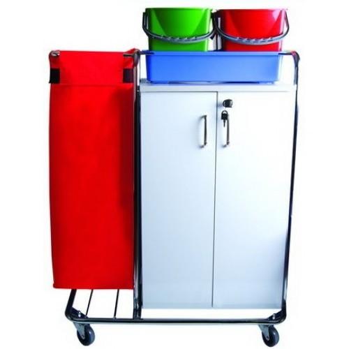 Тележка для отеля многофункциональная мешок для белья или мусора, лоток. цветные ведра 4х5л. шкаф с полками с замком поворотные колеса 80мм.