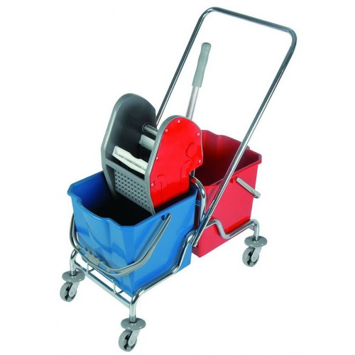 Двухведровая тележка уборочная  с отжимом сьемные ведра 2х20 л. металлический хромированный каркас поворотные колеса