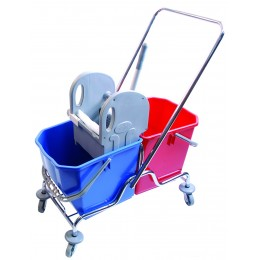 Двухведровая тележка уборочная  с отжимом сьемные ведра 2х25 л. металлический хромированный каркас поворотные колеса