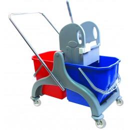 Двухведерная уборочная тележка пластиковая с отжимом сьемные ведра 2х25 л.