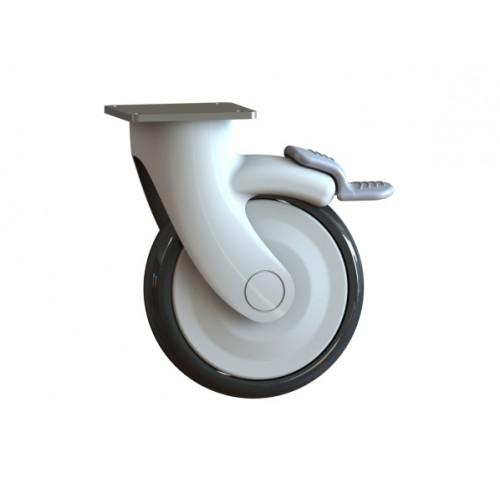 Колесо бесшумное поворотное с тормозом, диаметр 125 мм